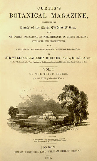 Curtis's Botanical Magazine - The Botanical Magazine, 1845 title page