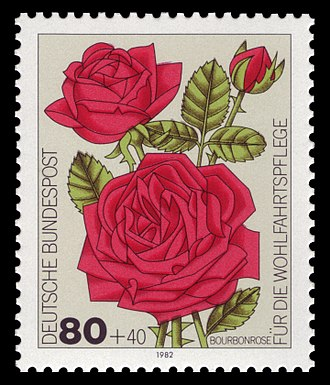 Henri Antoine Jacques - German postage stamp, series for social welfare 1982, cultivar roses
