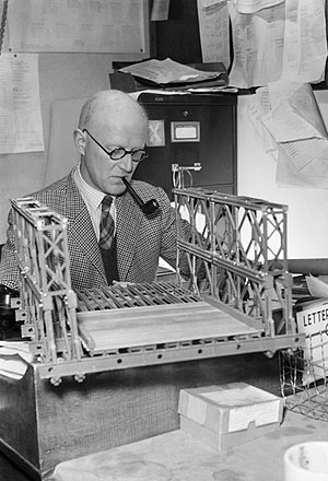 Donald Bailey (civil engineer) - DC Bailey with a model of a section of Bailey Bridge