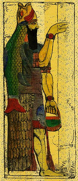 The Semitic fish-god Dagon. Illustrerad verldshistoria utgifven av E. Wallis. volume I, 1875, via Wikimedia Commons