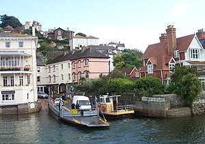 Kingswear - The Dartmouth Lower Ferry at its Kingswear slip, with the Royal Dart Hotel to the left
