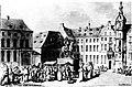 Das Düsseldorfer Stadtbild I 1585-1806 Marktplatz in Düsseldorf, Aquarell von Thomas Rowlandson, 1791.jpg