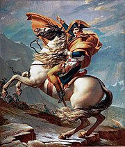 Napoleon on a rearing white horse pointing his men to continue their advance through a mountain pass.