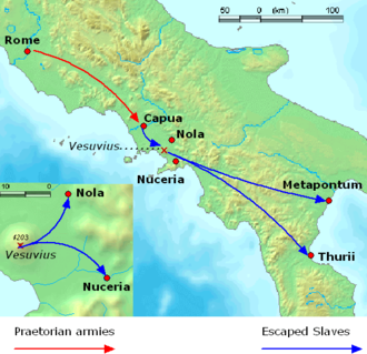 Third Servile War - Initial movements of Roman (red) and Slave (blue) forces from the Capuan revolt to the end of winter 73–72 BC. Insert: Vesuvius area.