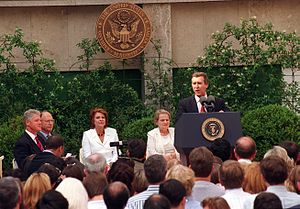 Richard N. Gardner - Ambassador Gardner is seated next to President Clinton in this July 8, 1997 photo from Madrid.