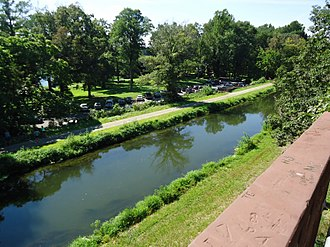 Delaware and Raritan Canal - A section of the canal as seen from a footbridge (2013)