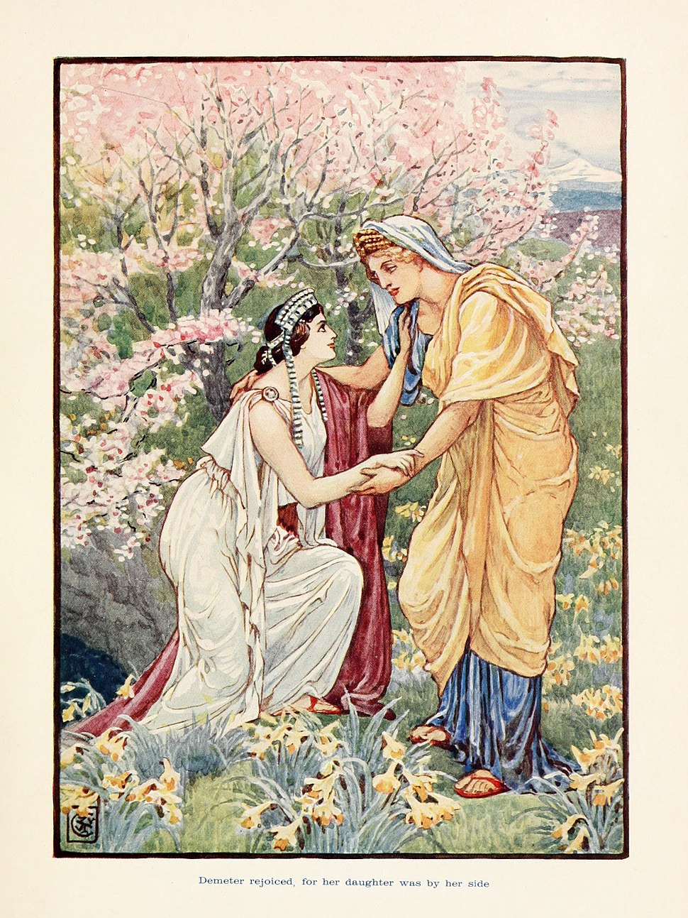 Demeter rejoiced, for her daughter was by her side