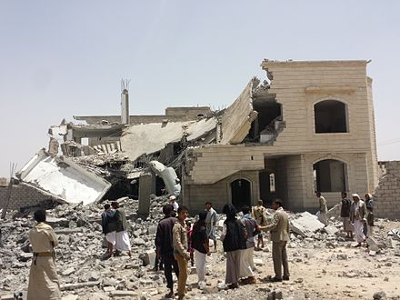 HRW wrote that the Saudi Arabian-led military intervention in Yemen that began on March 26, 2015 had conducted airstrikes in apparent violation of the laws of war. Destroyed house in the south of Sanaa 12-6-2015-3.jpg