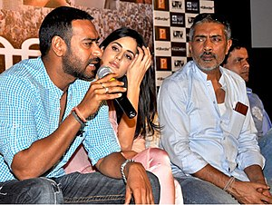 Raajneeti - Ajay Devgn, Katrina Kaif and Prakash Jha at the press meet of Rajneeti, at Lucknow in 2010.