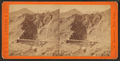 Devil's Gate from the south, the high peaks of the Wahsatch (Wasatch) in the distance. Union Pacific Railroad, from Robert N. Dennis collection of stereoscopic views.png