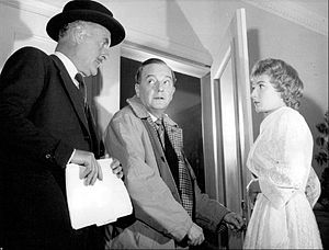 Maurice Evans (actor) - Evans reprised his Broadway role in Dial M for Murder for a 1958 Hallmark Hall of Fame television presentation. Also pictured are John Williams and Rosemary Harris.