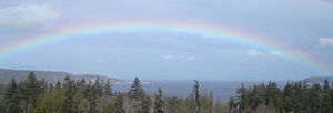 Port Discovery, Washington - Rainbow over Discovery Bay, taken from Gardiner, Washington