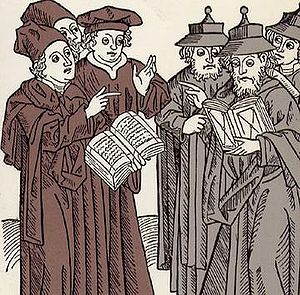 Disputation - A disputation between Jewish and Christian scholars, (1483).