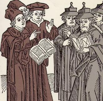 Disputation of Tortosa - Disputation between Jewish and Christian scholars. Johann von Armssheim, 1483. Woodcut