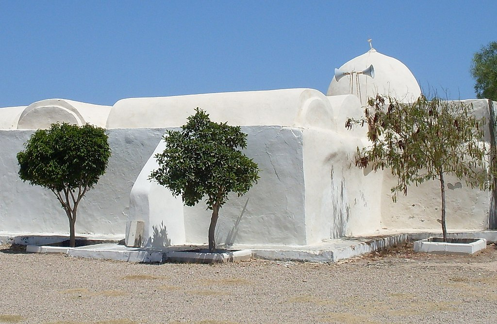 Façade de la mosquée Essatouri vue de l'extérieur et coiffée d'une coupole; trois arbustes sont plantés au premier plan.
