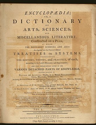 Dobson's Encyclopædia - The title page of volume 1 of Dobson's: The First American Edition