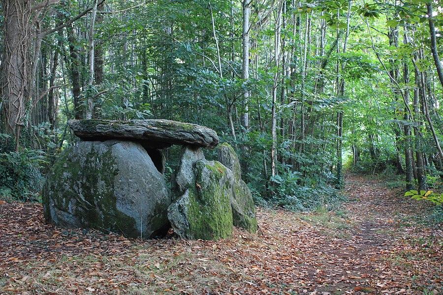 Dolmen de Tri-Men-de-Castello. Vue d'implantation du nord vers le sud.