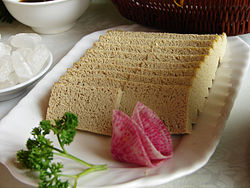 Thawed and sliced frozen tofu