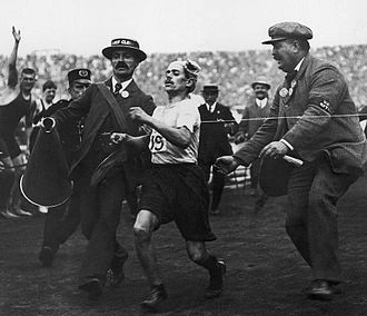 1908 Summer Olympics - Dorando Pietri finishes the marathon.