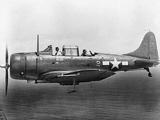 VMA-231 - An SBD-5 Dauntless dive bomber of VMSB-231 during World War II. The pilot is Major Elmer P. Glidden