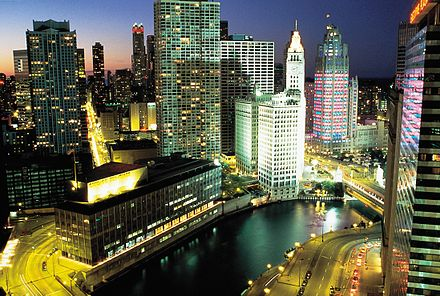 The Main Stem of the river, Wrigley Building, and Tribune Tower at night. DowntownChicagoILatNight.jpg