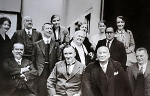 B. R. Ambedkar - Ambedkar (In center line, first from right) with his professors and friends from the London School of Economics (1916-17)