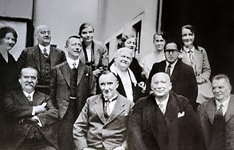 B. R. Ambedkar - Ambedkar (in centre line, first from right) with his professors and friends from the London School of Economics (1916–17)