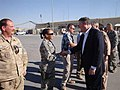 Dr. Chouraeshkenazi shaking hands with 22nd Secretary of the United States, Michael B. Donley at Kandahar Airfield, Afghanistan, 2010.jpg