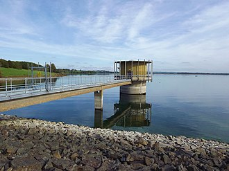 Draycote Water - The water extraction tower at Draycote Water