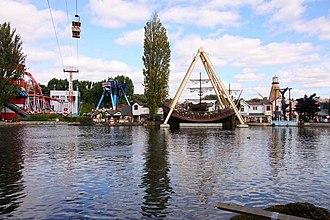 Drayton Bassett - Drayton Manor Theme Park from across the lake