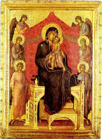 Three Hail Marys - Madonna and Child with  Angels, Duccio, 1282