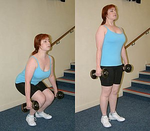 Dumbbell deadlift.