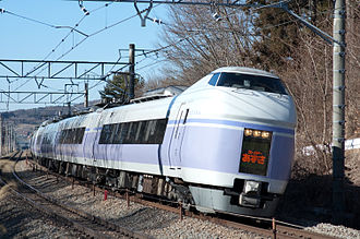 Azusa (train) - E351 series EMU on a Super Azusa service in January 2010