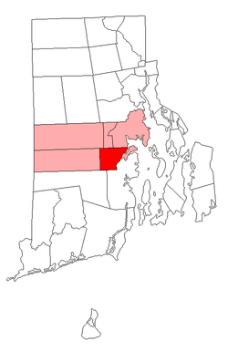 Location of East Greenwich in Kent County, Rhode Island