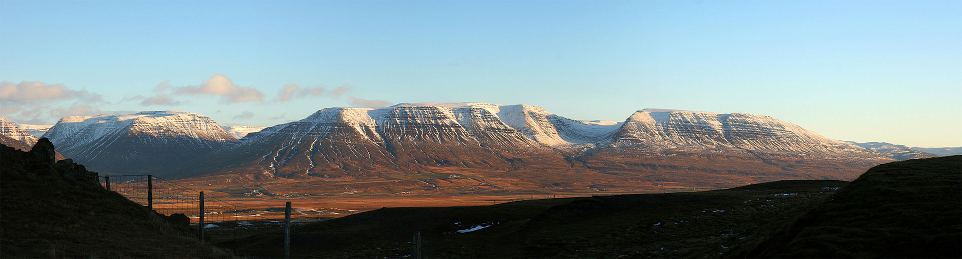 Panoramic view east across Skagafjörður valley, from Vatnsskarð pass, Northwestern Region