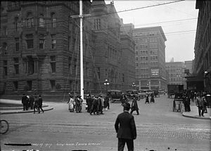 Eaton's Annex - The Eaton's Furniture Building in May 1917, with City Hall in foreground.