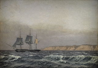 View of the Cliffs of Møn and a Corvette