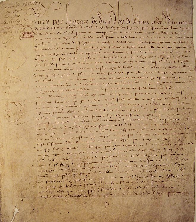 The Edict of Nantes Edit de Nantes Avril 1598.jpg