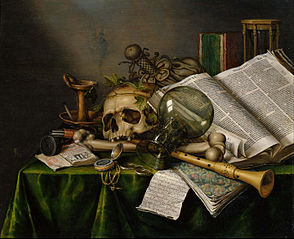 Vanitas, Still Life with Books and Manuscripts and a Skull