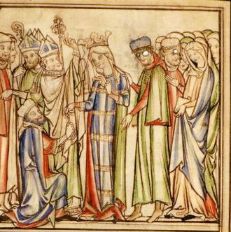 Matthew Paris - Coronation of Queen Edith, the wife of King Edward the Confessor. (Cambridge University Library, Ee.3.59, fo. 11v)