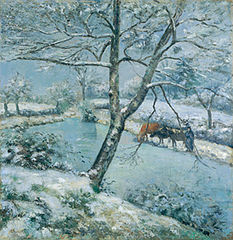 The Pond at Montfoucault in Winter, Effect of Snow