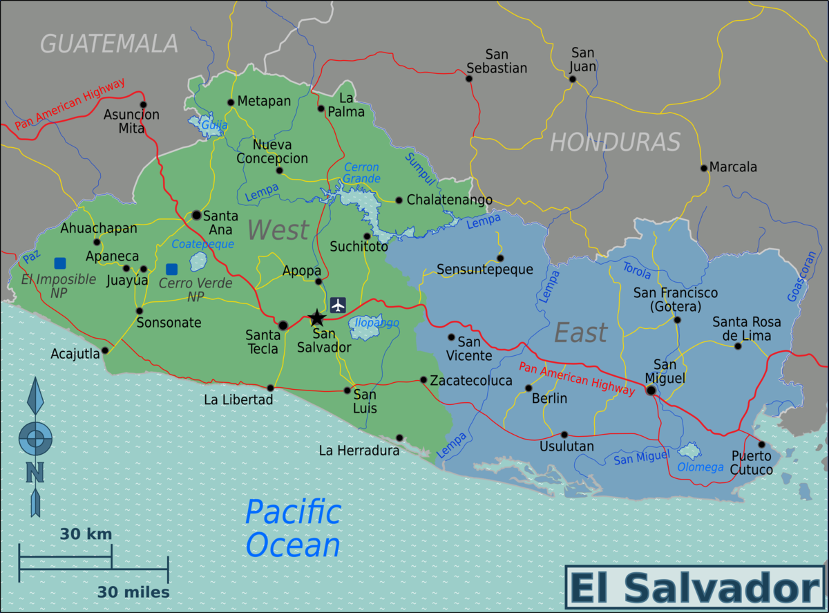 El Salvador Travel Guide At Wikivoyage - El salvador earth map