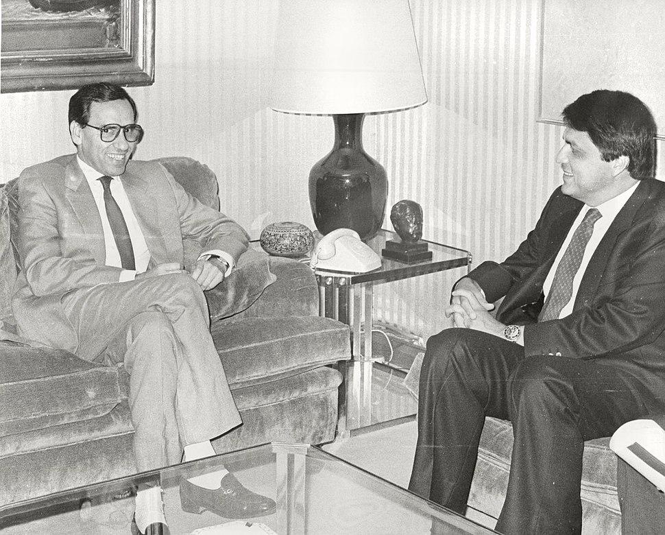 El vicepresidente del Gobierno se entrevista con el presidente de Perú. Pool Moncloa. 12 de agosto de 1988.jpeg