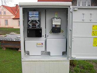 Low-voltage network - A house cable connection cabinet equipped with a meter, a time switch and a circuit breaker