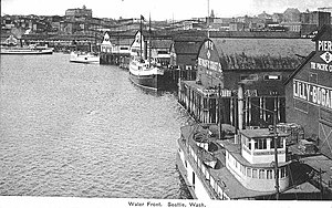 Elliott Bay - Elliott Bay and the Seattle waterfront, looking north from the Pacific Coast Co. dock, c. 1907