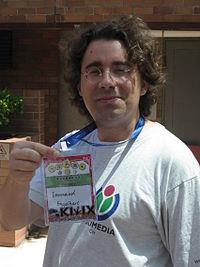 Emmanuel Engelhart from Kiwix and Wikimedia CH at Wikimania 2013.jpg