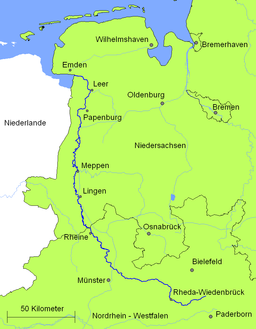 Course of the Ems through Emsland