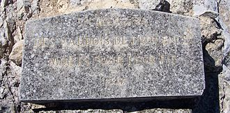 "Massacre of Mérindol - Mérindol plaque ""In memory of the Waldensians who died for their faith""."