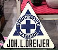 Enamel advertising sign, Heilgymnastiek, Massage, Joh L Dreijer, Langcat Bussum.JPG