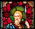 Enniscorthy St. Aidan's Cathedral West Aisle Second Window Apostle Thomas Detail 2009 09 28.jpg